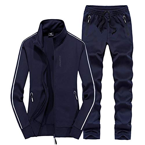 Womens Tracksuit, Outdoor Casual Sweatsuit Spring Fall Jogging Gym Top Sport Zip Up 2 Piece Set Activewear,darkblue,XL (Womens Sweatpant-sets)
