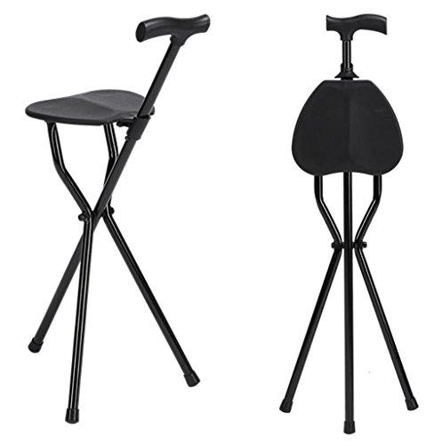 G&M Gehen Falzbein portable Sitzstange Sitz Sticks Gehstock mit Sitzstange Mobility Aid Faltstock Sitz öffnet sich leicht und passt sich leicht 32X6X90CM