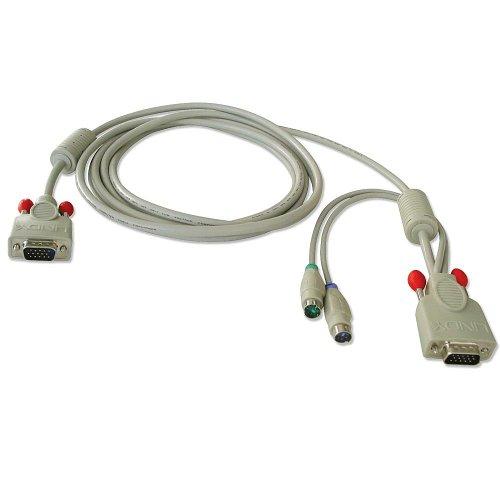 Lindy Combined KVM cable, 1m 1m White KVM cable - KVM Cables (1m, 1 m, White, 2 x 6 Pin, 1 x HD15, VGA (D-Sub), Male/Male)