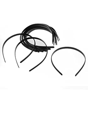 Ecloud Shop® 12X Diadema plástico Cinta Pelo Banda Negro Simple 10 mm