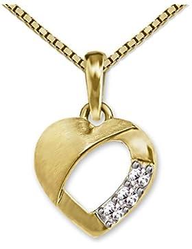 CLEVER SCHMUCK Goldener Anhänger Mini Herz 9 mm mit 3 Zirkonias, teils offen, matt und glänzend 333 GOLD 8 KARAT...