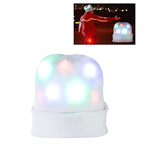 Led Hats, DAXIN Party Hat Knitted Beanie Hat Flashing Hat with 7 Colorful Flashing Lights for Adult and Children, Light Up Hat Cap for Party, Birthday, Sports, Christmas, Rave, Disco (White)