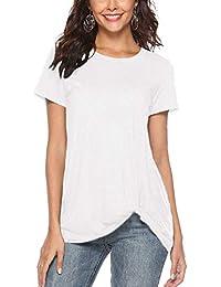 48f339c5081 AMORETU Womens Short Sleeve Twisted Sweatshirt Tunic Tops Shirts Blouse