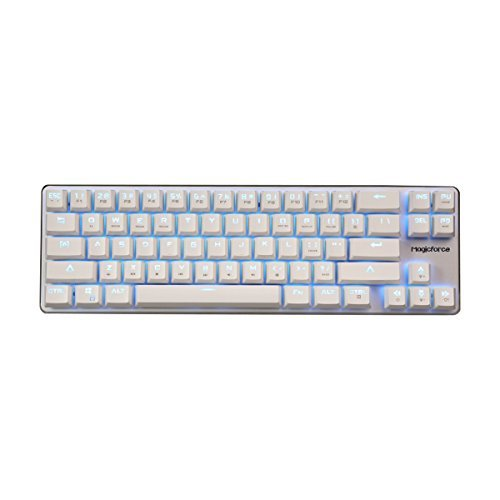 Argento Qisan Gaming Keyboard Tastiera Metallica Meccanica Cherry Mx Blu Interruttore Di Ghiaccio Retroilluminazione Blu Della Tastiera 68-Keys Mini Design-Bianco