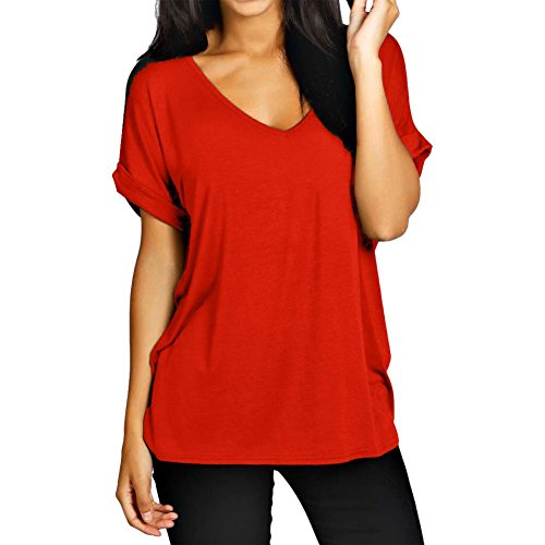 Womens Baggy Fit V Neck Top Ladies Turn Up Loose Batwing Short Sleeve Size 8-20 Rot