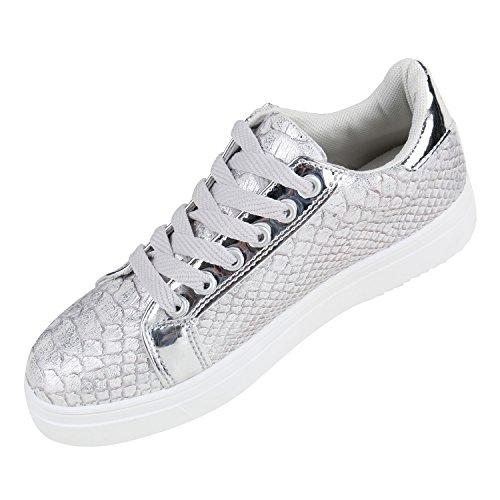 Sneakers Donna Sneaker Metallizzato Basse Scarpe Con Laccetti Glitter Lacca Stampa Animalier Sneakers Scarpe Sportive Plateau In Pelle Effetto Flandell Argento Argento Bianco