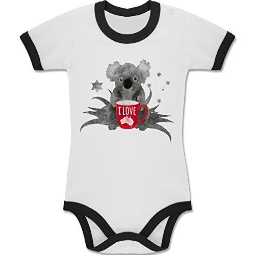 Städte & Länder Baby - I love Australien Koala - 12-18 Monate - Weiß/Schwarz - BZ19 - Zweifarbiger Baby Strampler für Jungen und Mädchen (13 Kinder Lucky Kleidung)
