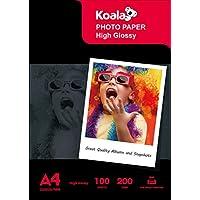 KOALA - Papel fotográfico de inyección de tinta (A4, 100 hojas, 200 g/m², para impresora de inyección de tinta Canon HP Epson)