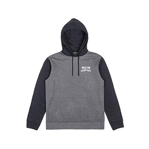 Brixton Herren Sweat WOODBURN Hooded  Charcoal Heather/Black, M -