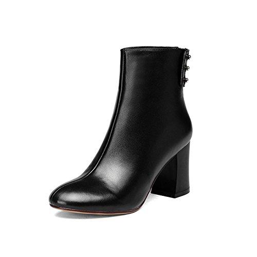 WSS chaussures à talon haut Oie de cuir haute avec cuir épais style Western. bottes Black