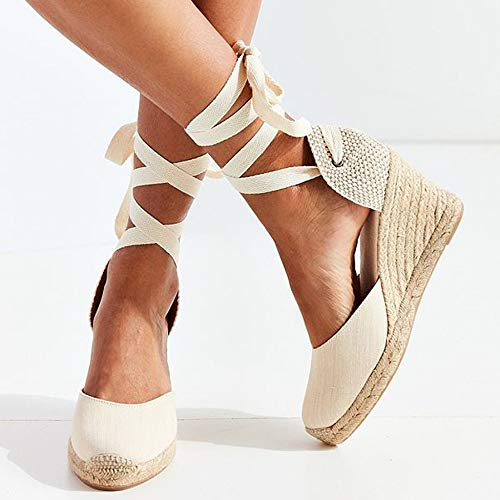 YOPAIYA Espadrilles Fischer Schuhe Damen Knöchelriemen Sandalen Komfortable Weiße Hausschuhe Damen Damen Freizeitschuhe Atmungsaktive Flachs Hanf Canvas Pumps, 38 Army Navy Schuhe
