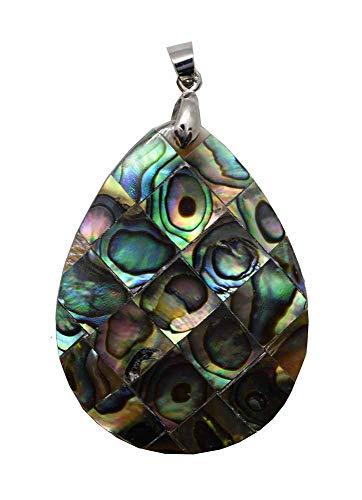 Cleo Pendant Mosaic Abalone Shell Drop Shape 30X40mm