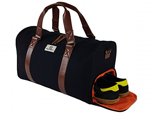 chad-hayward-sports-gym-travel-bag-holdall-black-canvas-duffle-with-leather-trim-and-external-storag