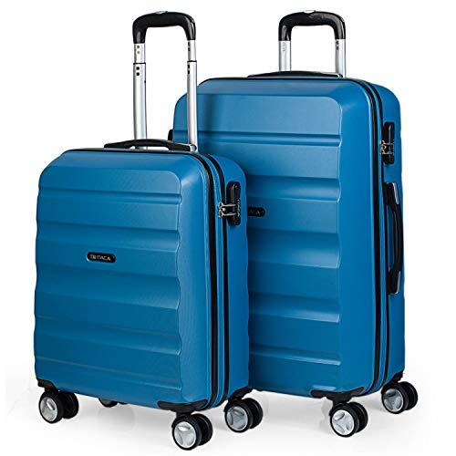 ITACA - Juego Maletas de Viaje Rígidas 4 Ruedas Lisas Trolley 55/67 cm ABS. Resistentes y Ligeras. Candado. 2 Tamaños: Pequeña Cabina 55X40X20 cm y Mediana. Estudiantes. T71615, Color Azul