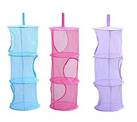 Tougo 3 Pack Hanging Mesh Toy Storage Organizer 3 Compartments Space Saver Bags - Best for Keeping Rooms Clean, Organized and Clutter-free - Rose,Blue,Purple