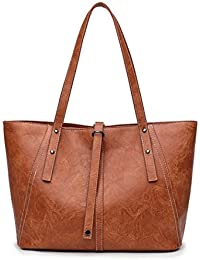 73ce5d7c51d6 Amoyie Vintage Leather Tote Bag Women s Shoulder Bag Fit 14 Inch Laptop Top  Handle Bag for