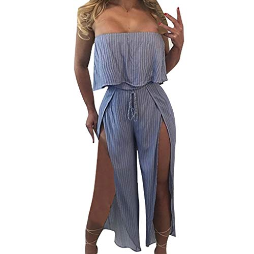 SoonerQuicker Jumpsuit Damen elegant Women Casual Sleeveless Bandeau Strappy Stripe Ruffled Flounce Long Jumpsuit blau L White Ruffled Top Outfit