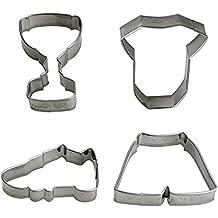 Decora Kit Cortador de Fútbol, Acero, Plata, 4 piezas