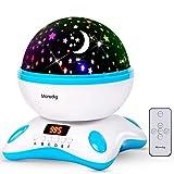 Moredig - Sternenhimmel Projektor Lampe, Musik Nachtlicht Lampe 360° Rotation + 12 Beruhigende Musik + 8 Romantische Licht, Perfektes für kinder, geburtstage, halloween usw - Blau und weiß
