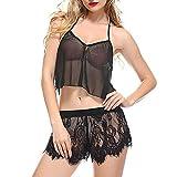 B-commerce Zweiteilige Mädchen Weiche Pyjama Sets Frauen Crop Tops Ärmelloses Armband Nachtwäsche Spitzenbesatz Satin Cami Nachtwäsche Sets