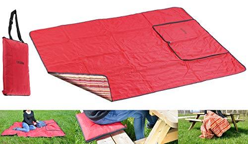PEARL Picknickdecke mit Kissen: 3in1-Picknickdecke mit Sitzkissen und Zudecke, waschbar, 180 x 150 cm (Picnic Decke) (Färbung Muster Bücher)