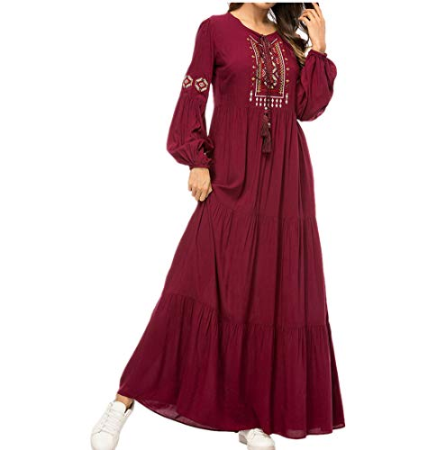 zhxinashu Frauen Muslim Maxikleid Robe - Damen Übergröße Stickerei Abaya Kaftan Lange Ärmel Jahrgang Cocktailkleider M