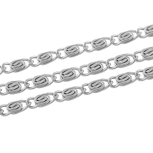 Collana in acciaio INOX, 2 m, argento, 4 x 1,5 mm