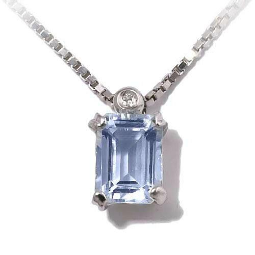 Gioie Girocollo Donna in Oro 18 carati Bianco con Acquamarina e Diamante H/SI (totale diamanti 0.01 ct), Cm 43, 2.3 Grammi