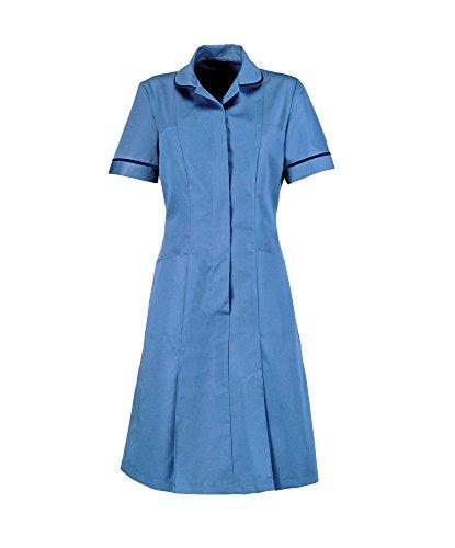 Kleid Medizinische (Alexandra stc-hp297hn-88s Reißverschluss vorne Kleid mit Paspel Kragen und Manschetten, Uni, kurz, 67% Polyester/33% Baumwolle, navy Schnitt, Brust: 10, Größe: 88cm, Krankenhaus Blau)