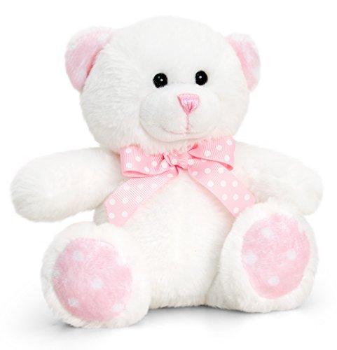 Lashuma Keel Baby Plüschtier Bär Beige - Rosa, Kuscheltier Teddy sitzend 15 cm (Für Plüschtiere Rosa Babys)
