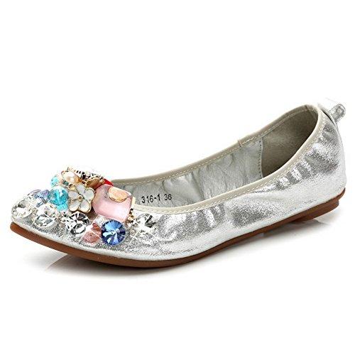 AalarDom Femme Tire Pointu Non Talon Couleur Unie Matière Souple Chaussures à Plat Argent-Chaîne Perle