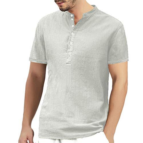 Luckycat Herren Sommer T-Shirt Leinenhemd Herren Henley Shirt Herren Freizeithemden Herren Kurzarm & Langarm Hemd Herren Leinen Shirt