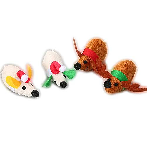(Zhou Yunshan Glücklich Weihnachtsmaus-Spielzeug-Sicheres ungiftiges Katzenminzen-Haustier-wechselwirkendes Spielzeug 4 Sätze.)