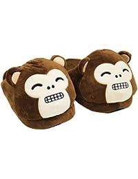HTUK® Monkey Slippers Animal Plushed Stuffed Slippers Unisex Womens Mens One Size Super Soft Slippers