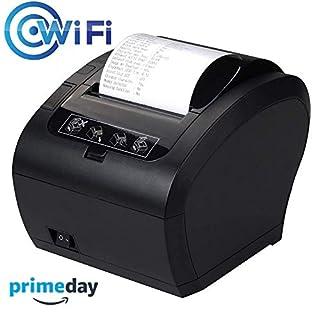 [Update 3.0] Thermodrucker WiFi Munbyn 300mm/s Bondrucker Quittungsdrucker Auto-Cut Schublade Unterstützung,Hochgeschwindigkeits WiFi USB Ethernet (LAN), kompatibel mit ESC/POS eingestellt-EU Schwarz