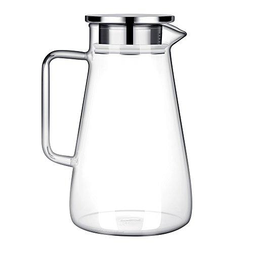 GA Homefavor Krug Glass Karaffe 1500ml Wasser Saft Tee mit rostfreiem Deckel