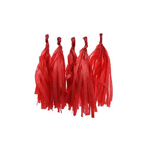 Archiba 5Pcs 35cm Seidenpapier Quaste Garland Blumen für Geburtstag Hochzeit Dekoration Baby Shower Hanging Bunting Bastelbedarf, PT06 rot (Dekorationen Halloween Yard Außerhalb)