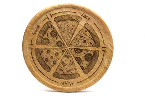 SNEG Pizzateller 32cm aus Holz mit lustiger, persönlicher Gravur und Pizza-Motiv