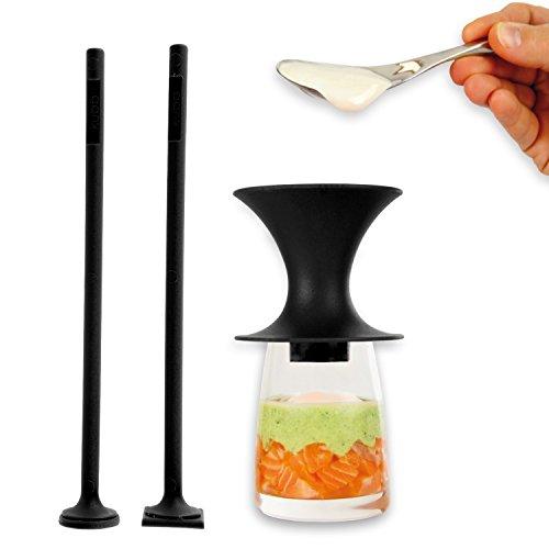Kubb K106 Funnel for Verrines + 2 Pushers, Black Plastic