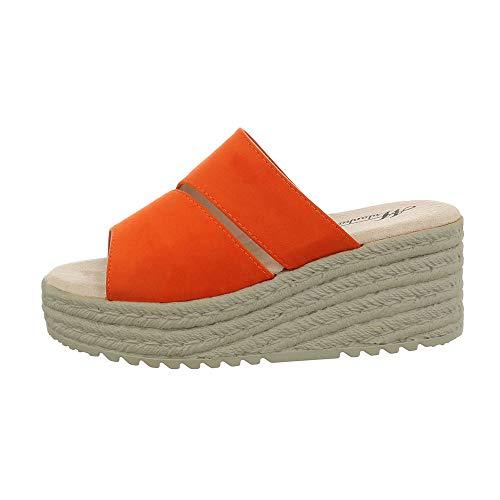 Fee Schuhe Kostüm - Ital-Design Damenschuhe Sandalen & Sandaletten Pantoletten Synthetik Orange Gr. 37
