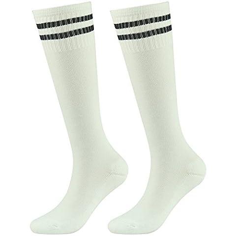 Towel Sports Socks Lucky Commerce Teens Youth Soccer Socks Knee Long Team Socks Children Sport Socks White 2 Pairs
