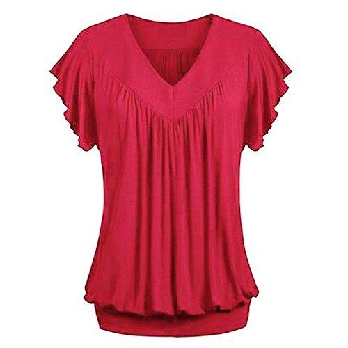 MRULIC Damen Pure Casual T-Shirt Top Tiefem V-Ausschnitt Bluse Plus Größe(Z-Weinrot,EU-52/CN-5XL)