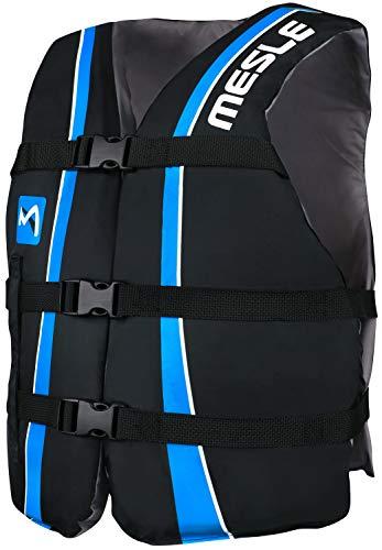 MESLE Universal-Schwimmweste Sportsman Adult, Universalgröße 40-70+ kg, 50-N Auftriebsweste Schwimmhilfe Prallschutz, blau-schwarz, für Erwachsene und Jugendliche