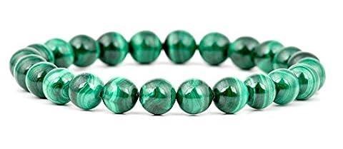 GOOD.designs Perlenarmband aus echten grünen Malachit-Natursteinen, Damenarmband als Geschenk in einer Schmuckbox