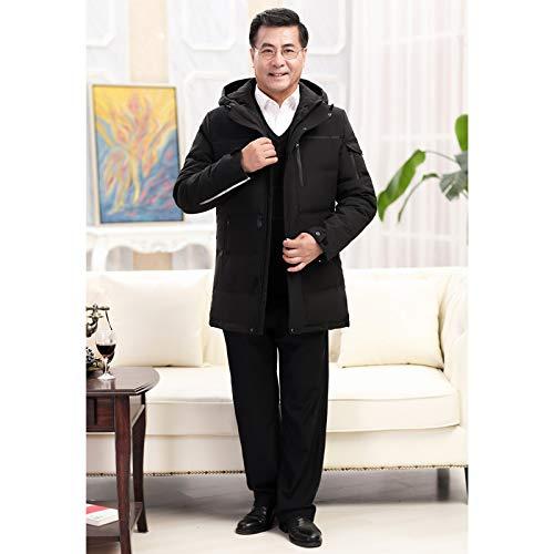 MINMINA Männerunterwäsche für Männer mittleren Alters - Mittlere, mittelgroße Kapuzenjacke, Lange Kapuzenjacke mit Kapuze, verdickteiner tieferen Daunenjacke, schwarz, 5XL