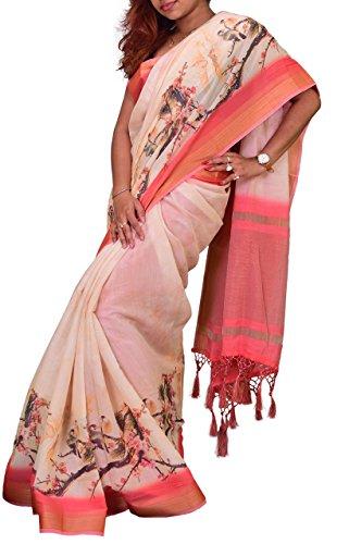 Vastravay Linen cotton in Digital print in Ethnic Wear Saree For Women's