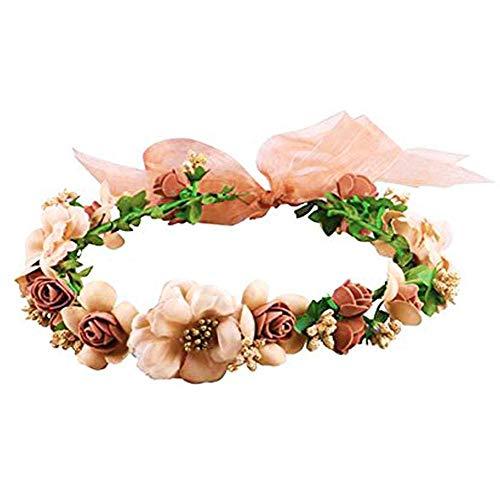 HAKACC Flower Crown/Wedding Hair Wreath Floral Headband Garland with Adjustable Ribbon for Wedding Festivals Brown
