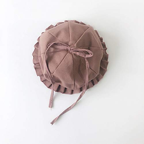WGYXM Hut, Barett mit Rüschen für Jungen und Mädchen, winddichter Kürbis-Schleifenhut für den Außenbereich, braun, S