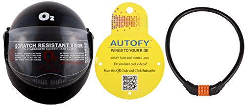 Autofy O2 Zed Full Face Flip Up Helmet (Black,M) and Autofy 4 Digits Universal Multi Purpose Steel Cable (Black and Orange) Combo