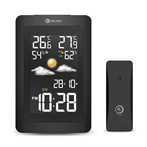 Drahtloser HD-Bildschirm USB-Außenwetterstation Hygrometer-Thermometer-Prognose-Sensor-Uhr (Color : Black)